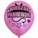 Balon Wieczór Panieński / perłowy, rogi, różowy, czarny nadruk