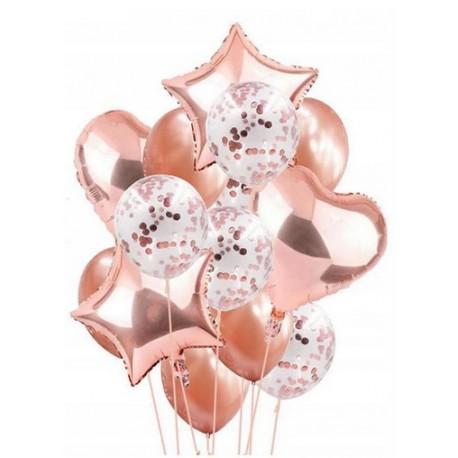 Balony Rose Gold (różowe złoto) zestaw