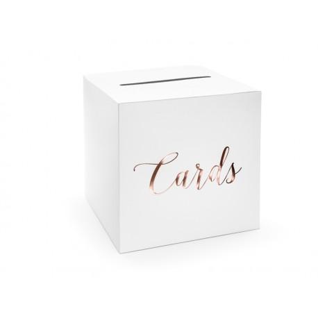 Pudełko na koperty - Cards, różowe złoto, 24x24x24cm