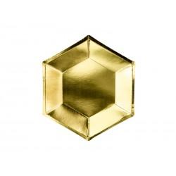 Talerzyki sześciokątne, złote, 20 cm (1 op. / 6 szt.)