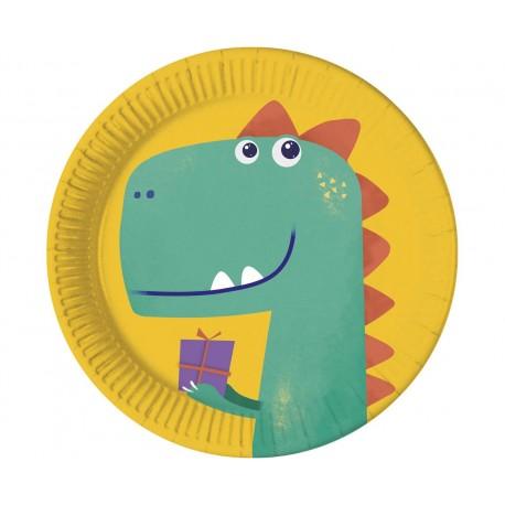 Talerzyki papierowe Compostable Dinosaur, 23 cm, 8 szt.