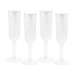 Kieliszki do szampana, plastikowe, srebrny brokat, 4 szt.