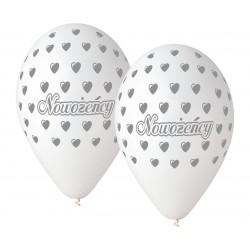 Balony NOWOŻEŃCY, białe, 12cali / 5szt.