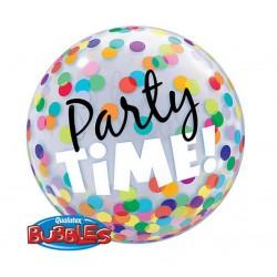 """Balon foliowy 22""""  Bubble, PARTY TIME! (Kolorowe Grochy)"""