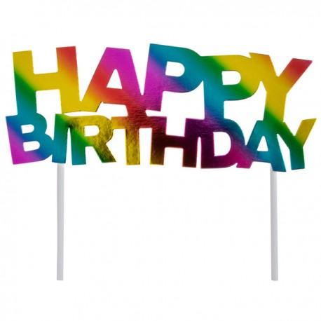 """Dekoracja tortowa """"Happy Birthday"""", 14 x 18 cm"""