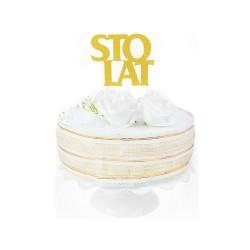 """Dekoracja na tort Topper """"Sto Lat"""", złota, 11,5 x 9,5 cm"""