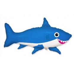 Balon foliowy 68x98cm - Uśmiechnięty rekin, niebieski