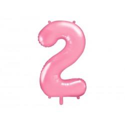 """Balon foliowy Cyfra """"2"""", 86cm, różowy"""