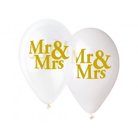 "Balony gumowe ""Mr&Mrs"", 13"",33cm/ 5 szt."