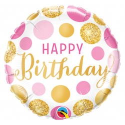 "Balon foliowy 18"" - ""Happy Birthday Pink & Gold Dots"""