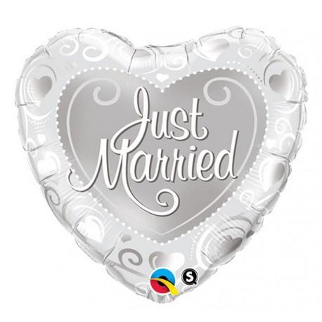 """Balon foliowy 18"""", """"Just Married"""" (srebrne serca)"""