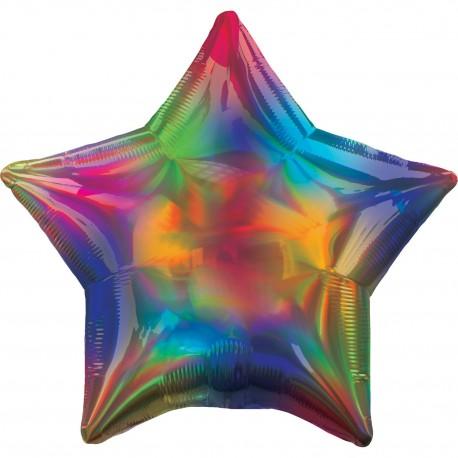 Balon foliowy Gwiazda tęczowa opalizująca, ciemne kolory