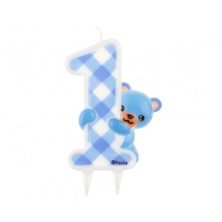 """Świeczka Jumbo """"Niebieski Miś"""", 7.2 x 12 cm, cyferka 1"""