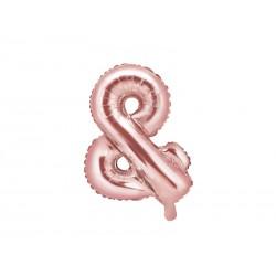 Balon foliowy &, 35cm, różowe złoto