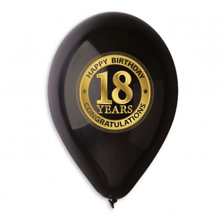 "Balony gumowe ""18 years"", czarne, 30cm / 5 szt."