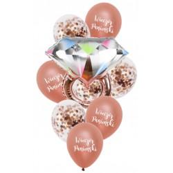Zestaw balonów rose gold z pierścionkiem na panieński