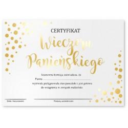 Certyfikat na Wieczór Panieński złocony