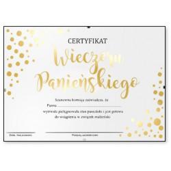 Certyfikat w antyramie na Wieczór Panieński złocony