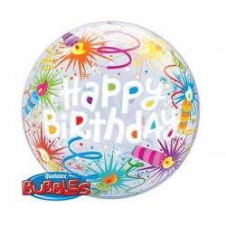 """Balon foliowy 22"""" QL Bubble Poj. """"Happy Birthday (świeczki)"""""""