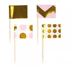 "Pikery koktajlowe ""Pattern Works - Pink "", 20 szt."