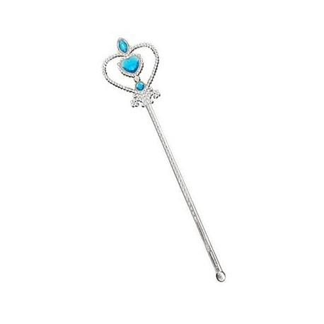 Różdżka Srebrna z niebieskimi kamieniami, 32 cm