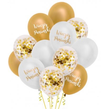 Zestaw balonów Panieński konfetti 12szt złote