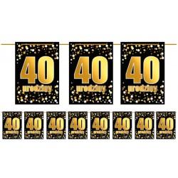 Girlanda flagi 40 urodziny złoto czarna