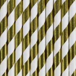 Słomki papierowe, złote 10szt
