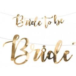 Baner Bride to be złoty, 80x19cm