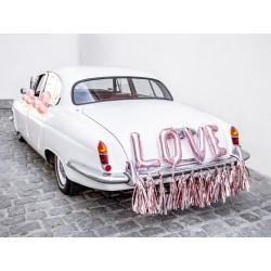 Zestaw dekoracji samochodowych - Love, różowe złoto