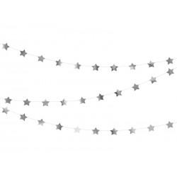 Girlanda Gwiazdki srebrne 3,6m
