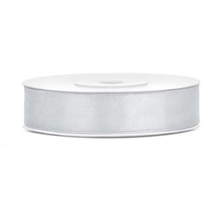 Tasiemka satynowa, srebrny, 12mm/25m