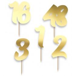Pikery personalizowane - cyfry złote 5szt