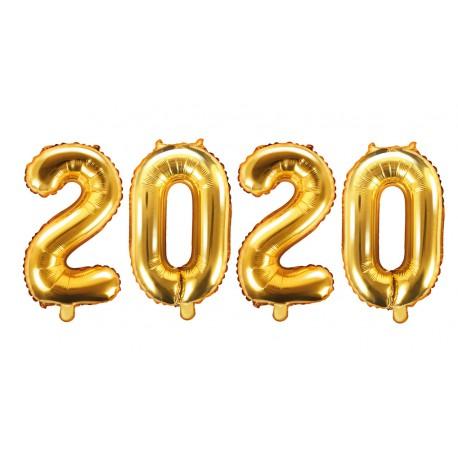 Balony cyfry 2020 złote 35cm