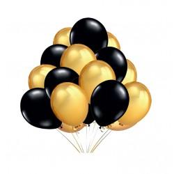 Balony czarne i złote 23cm, 100szt