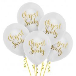 Balony Chrzest Święty biały 5szt