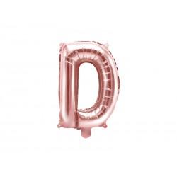 """Balon foliowy Litera """"D"""", 35cm, różowe złoto"""