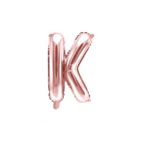 """Balon foliowy Litera """"K"""", 35cm, różowe złoto"""