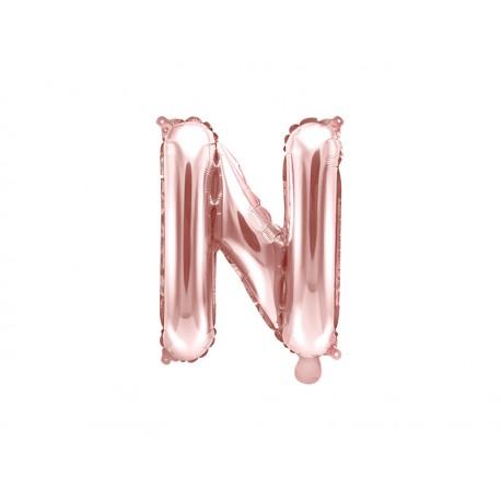 """Balon foliowy Litera """"N"""", 35cm, różowe złoto"""