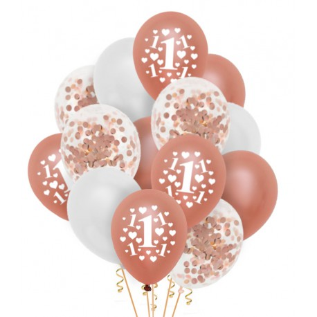 Zestaw balonów Roczek serduszka konfetti 14szt