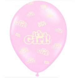 Balony 30cm, It's a Girl, Pastel Baby Pink