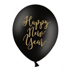 Balony 30cm, Happy New Year, elegant, Pastel Black