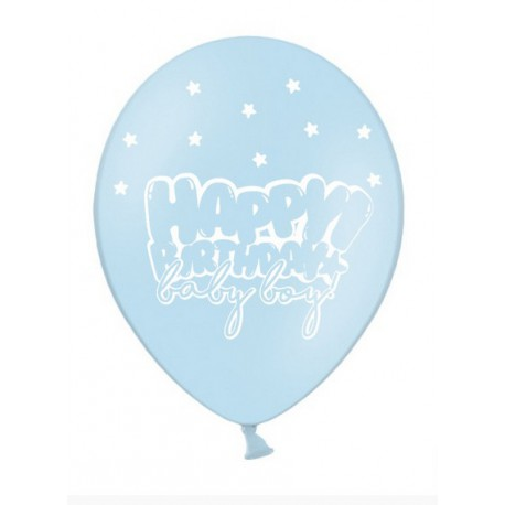 Balon 30cm, Happy Birthday, Baby Blue 1szt