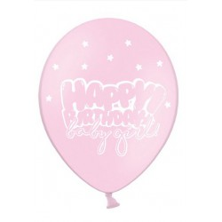 Balon 30cm, Happy Birthday, Baby Pink 1szt