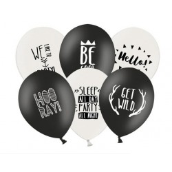 Balon 30cm, Party, Black, White 1szt