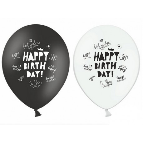 Balon 30cm, Happy Birthday, Pastel mix 1szt