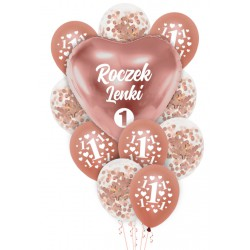 Balony zestaw rose gold ROCZEK+ IMIĘ personal