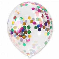 Balon przezroczysty z kolorowym konfetti 30 cm - 1 szt