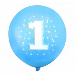 """Balon gumowy 30cm, z """"1"""" i gwiazdkami, niebieski, 1szt."""