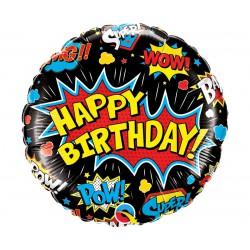 """Balon foliowy 18"""", """"Birthday Super Hero"""" czarny"""